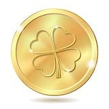 Golden coin with clover Royalty Free Stock Photo