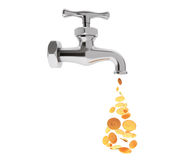 Golden Coin Coming Out From Chrome Water Tap Royalty Free Stock Images