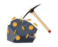 Golden coin with computer chip. Golden coin with computer chip and pickaxe. Mining symbol. Money and finance. Digital currency. Virtual money, cryptocurrency Royalty Free Stock Photography