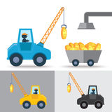 Golden coin and crane Stock Image