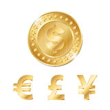 golden coin with dollar, euro, pound and yen signs Royalty Free Stock Photos