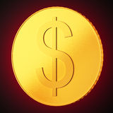 Golden coin with dollar sign on dark red background Stock Images