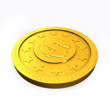 Golden coin with dollar sign. Royalty Free Stock Photo