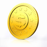 Golden coin with dollar sign. Stock Image