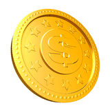 Golden coin with dollar sign. Royalty Free Stock Images
