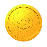 Golden coin with dollar sign. Stock Images