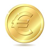 Golden coin with euro sign. Gold coin with euro sign. Vector illustration isolated on white background Royalty Free Stock Image