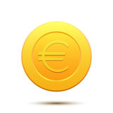 Golden coin with Euro symbol. Vector Illustration of golden coin with Euro symbol Royalty Free Stock Photography