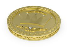 Golden coin with flowery pattern Royalty Free Stock Photography