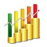 Golden coin graph money Royalty Free Stock Images