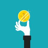 Golden coin in hand vector concept in flat style Stock Photos