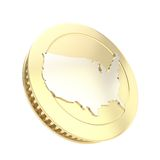 Golden coin isolated with usa country silver shape Royalty Free Stock Image
