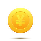 Golden coin with Japan Yen symbol Royalty Free Stock Images