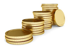 Golden coin lay pile. On white background Stock Photos