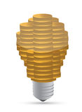 Golden coin lightbulb creative symbol of business Stock Photos