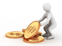 Golden coin and man. On white background Royalty Free Stock Photo