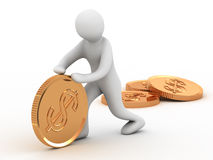Golden coin and man Stock Image