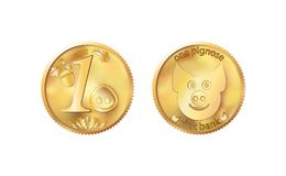 Golden coin one pig nose. Heads and tails for decoration and design. New year 2019 oink bank with the image piglet. Vector illustr. Ation in concept of save stock illustration