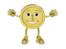 Golden coin represented as a cartoon character Stock Image