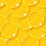 Golden coin seamless pattern. Budget information, current financial position, money and possessions decoration. Cartoon vector illustration Royalty Free Stock Photography