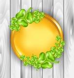 Golden coin with shamrocks. St. Patricks day symbol Stock Images
