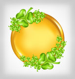 Golden coin with shamrocks. St. Patricks day symbo Royalty Free Stock Photos
