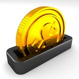 Golden coin in the slot of a moneybox Stock Images