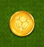 Golden coin with three leaves clover Royalty Free Stock Image