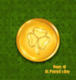 Golden coin with three leaves clover. Grunge St. Patrick`s backg Royalty Free Stock Images