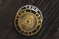 Golden coin Tron TRX, digital money, new cryptocurrency. Tron is a promising cryptocurrency stock photos