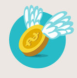 Golden coin with wings flat design vector Stock Images