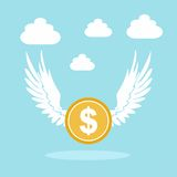 Golden coin with wings Royalty Free Stock Photography
