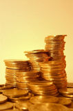 Golden coins. Some stacks of golden coins royalty free stock photos