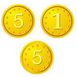 Golden coins. Three Golden coins on the white Stock Photo