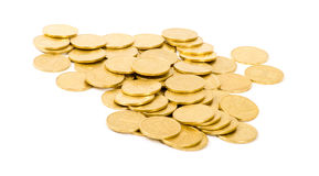 Golden coins. On white Royalty Free Stock Image