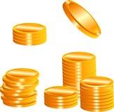 Golden coins. Realistic Golden coins. Vector illustration Stock Photos