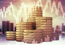 Finance and economy concept. Golden coins on abstract city and business chart background. Finance and economy concept. Double exposure royalty free stock image
