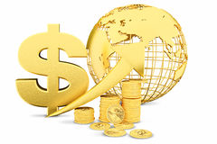 Golden coins as bars rising on the graph Royalty Free Stock Image