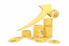 Golden coins as bars rising on the graph Royalty Free Stock Images