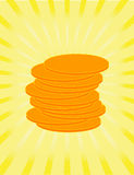Golden coins as sign of riches. Golden coins on a yellow background. Vector illustration Royalty Free Stock Image
