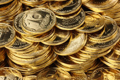 Golden coins background Stock Image