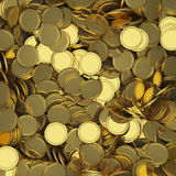 Golden coins background. Golden scattered coins closeup background. Selective DOF Stock Photo