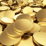Golden coins background. Golden shining blank coins renders - 3D background Royalty Free Stock Images