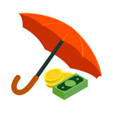 Golden coins and banknotes under umbrella icon Stock Photography