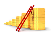 Golden coins bar chart graph with ladder Stock Photography