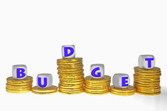 Golden coins Bar Graph with Budget word Royalty Free Stock Photos