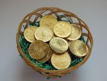Golden coins in basket Royalty Free Stock Image