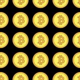 Golden coins with bitcoin sign seamless pattern. Crypto-currency market. Money icons on black background. Pattern seamless vector illustration. Concept Stock Photography