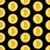 Golden coins with bitcoin sign seamless pattern. Crypto-currency market. Money icons on black background. Pattern seamless vector illustration. Concept Stock Photo