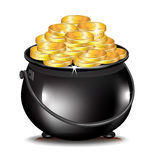 Golden coins in black pot Royalty Free Stock Photo